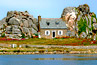 Brittany island house between boulders