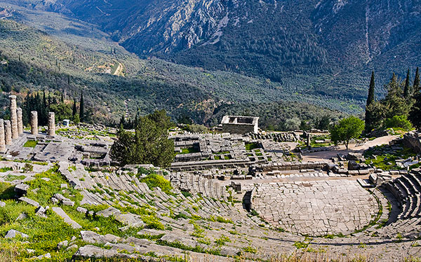 greece archaeological site classical mountain side