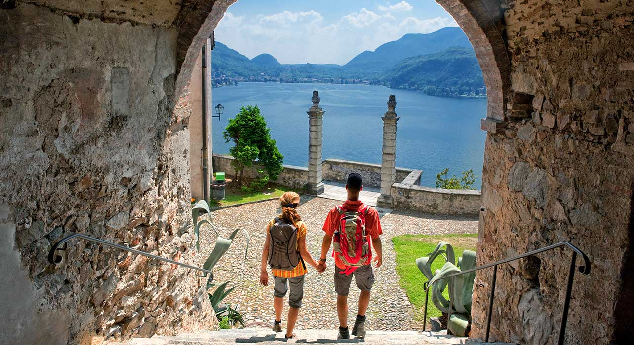 italy lakes couple hike morcote lugano