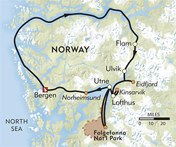 Hiking Norway's Fjord Country route-map