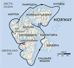 Spitsbergen Circumnavigation route-map