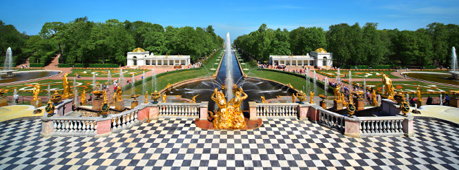 Gardens and pavilions of the Peterhof Palace in St. Petersburg, Russia