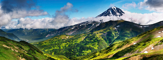 volcano mountain kamchatka russia far east landscape