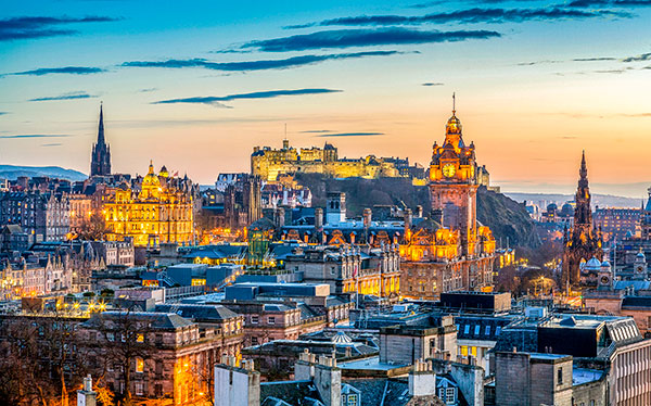 scotland edinburgh skyline sunset