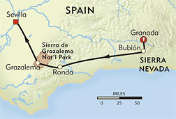 Granada to Sevilla route-map