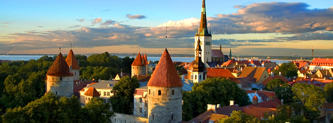 red roofs of the skyline of tallinn, estonia