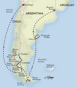 In Patagonia: Peninsula Valdes Departure route-map