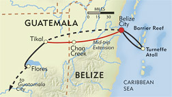 Belize and Tikal Private Journey route-map