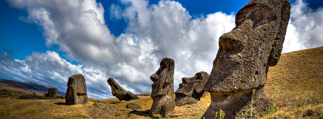 Six moai statues in Easter Island
