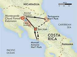 Costa Rica Private Journey route-map