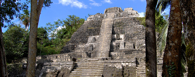 Mayan stone pyramid at Lamanai, Mexico