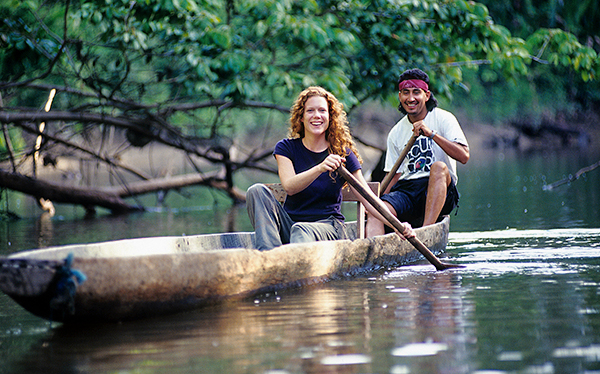 amazon rainforest napo lodge canoe