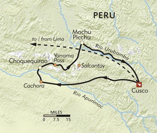 Choquequirao to Machu Picchu route-map