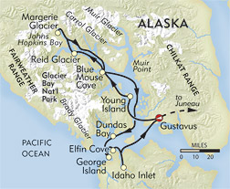 Hidden Glacier Bay route-map