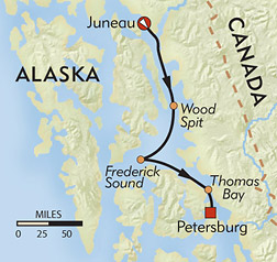 Alaska's Inside Passage route-map