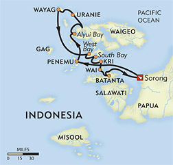 Raja Ampat: The Waigeo Islands route-map