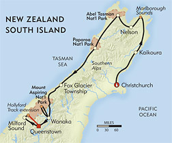 New Zealand: South Island Adventure route-map