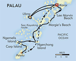 Palau Snorkeling and Sea Kayaking route-map