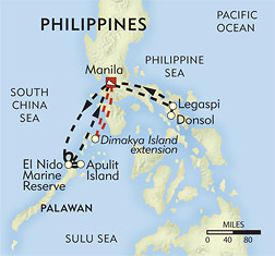 Snorkeling and Sea Kayaking in Palawan route-map