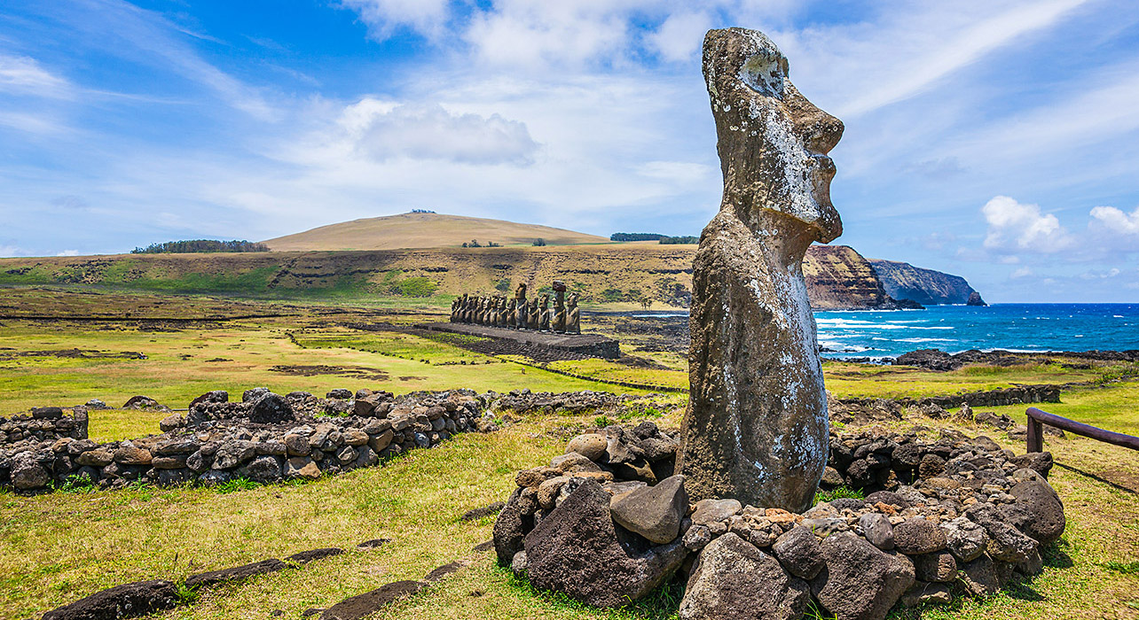 easter island statues coast view