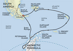 Antarctica, South Georgia, and the Falkland Islands route-map